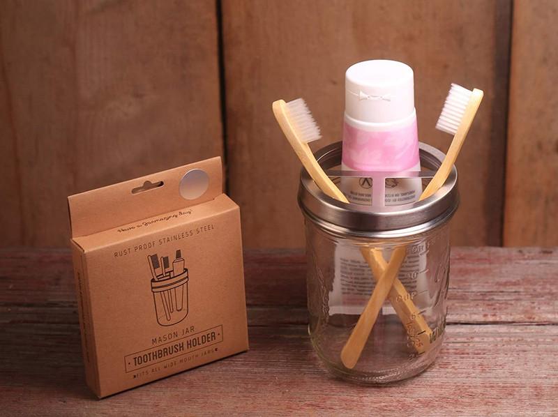 Toothbrush Holder - Mason Jar  - Stainless