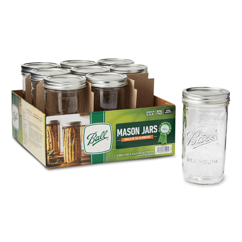 24 Oz Wide Mouth Mason Jars - 1 Case
