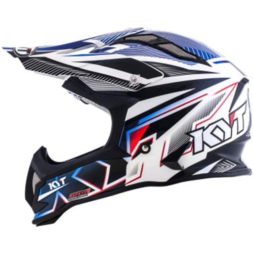 KYT Strike MX Helmet Eagle Stripe White/Blue
