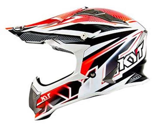 KYT Strike MX Helmet Eagle Stripe White/Red Flo