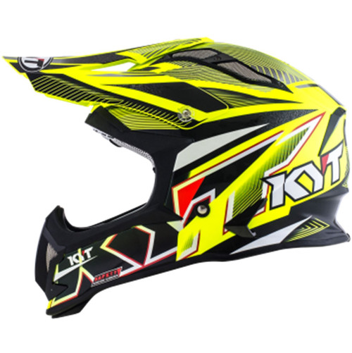 KYT Strike MX Helmet Eagle Stripe Yellow Flo