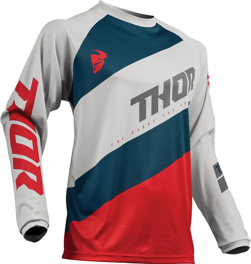 2019 Thor Men's Sector MX Jersey Light Grey/Red