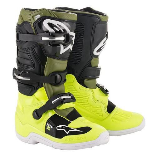 Alpinestars Tech 7S Youth Boots Yellow Flou/Military Green/Black