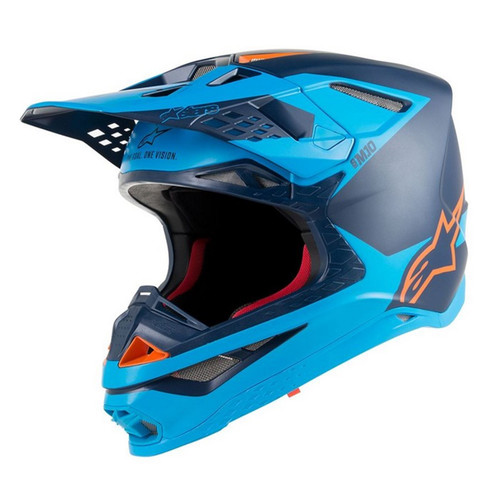 2019 Alpinestars Men's Supertech S-M10 Meta MX Helmet Black/Aqua/Orange Flou