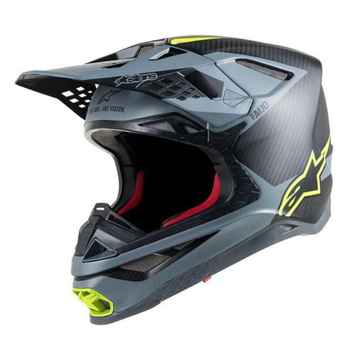 2019 Alpinestars Supertech S-M10 Meta MX Helmet Black Grey Yellow Flou