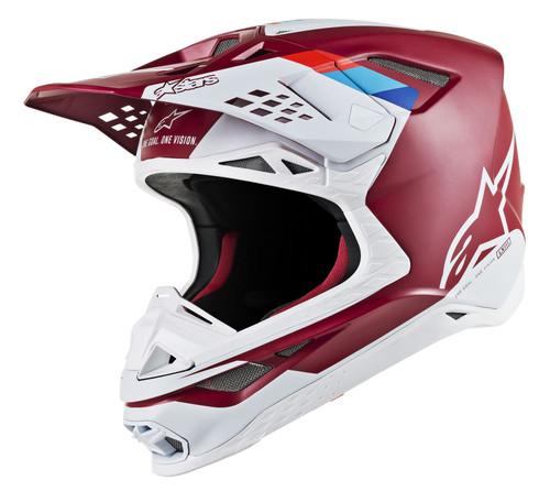 2019 Alpinestars Men's Supertech S-M8 Contact MX Helmet Dark Red/White
