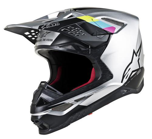 2019 Alpinestars Men's Supertech S-M8 Contact MX Helmet Silver/Black