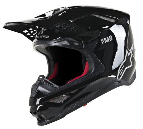 2019 Alpinestars Men's Supertech S-M8 Solid MX Helmet  Black Glossy