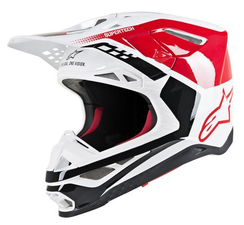 2019 Alpinestars S-M8 MX Helmet Triple Red/White