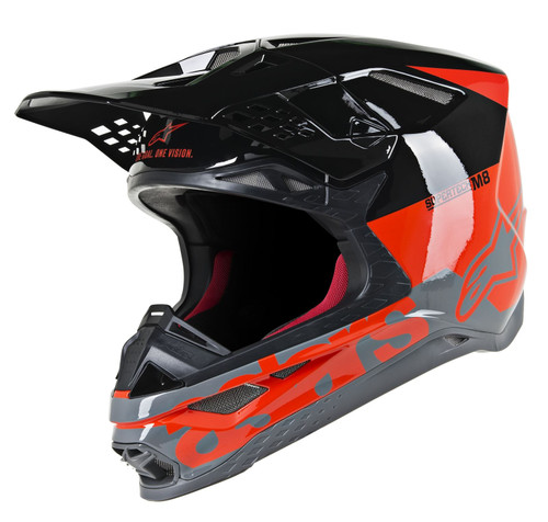 2019 Alpinestars S-M8 MX Helmet Radium Red/Black/Grey