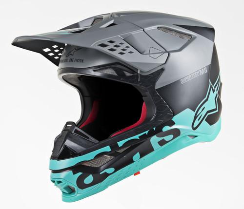 2019 Alpinestars S-M8 MX Helmet Radium Black/Grey/Teal