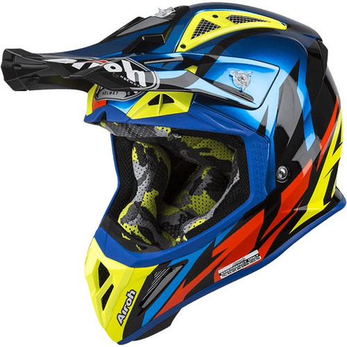 Airoh Aviator 2.3 AMS MX Helmet Great Blue Chrome