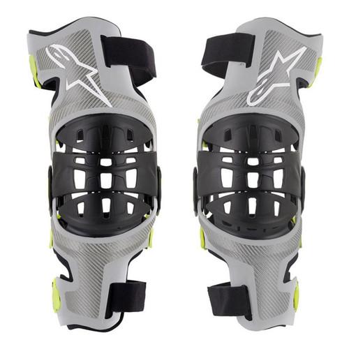 2019 Alpinestars Men's Bionic-7 Knee Brace Set Silver/Yellow Flou