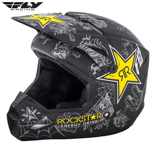 2019 Fly Racing Elite Guild MX Helmet Rockstar Black/Charcoal Yellow