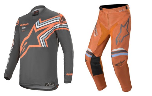 2020 Alpinestars Racer Braap Men's Adult MX Gear Combo Dark Grey/Orange Fluo