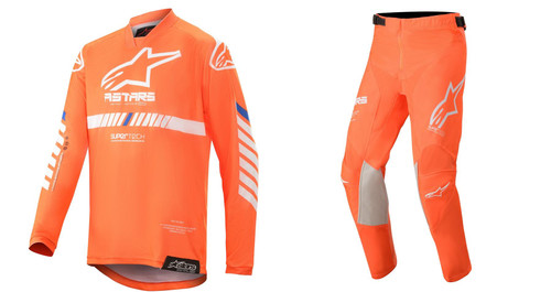 2020 Alpinestars Youth Racer Tech MX Gear Combo Orange Fluo/White/Blue
