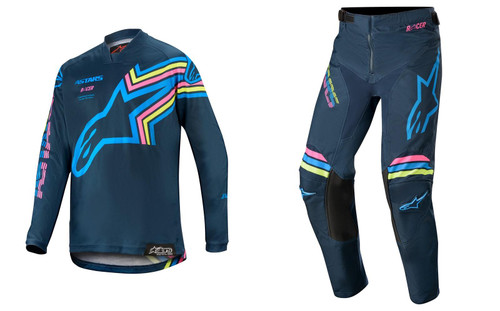2020 Alpinestars Youth Racer Brapp MX Gear Combo Navy/Aqua/Pink Fluo