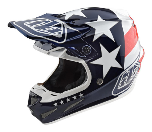 2019 Troy Lee Designs TLD Youth SE4 Polyacrylite MX Helmet Freedom Red/White