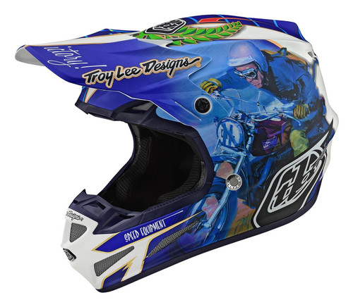 2019 Troy Lee Designs TLD SE4 Composite Men's Adult MX Helmet Malcolm Smith Blue