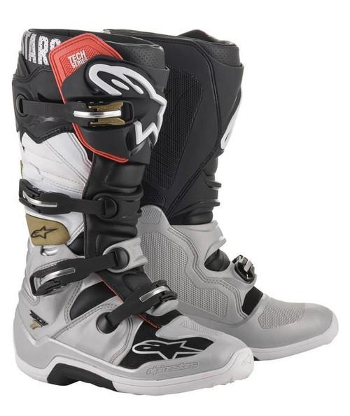 Alpinestars Tech 7 Adult Motocross Boot Black/Silver/White/Gold