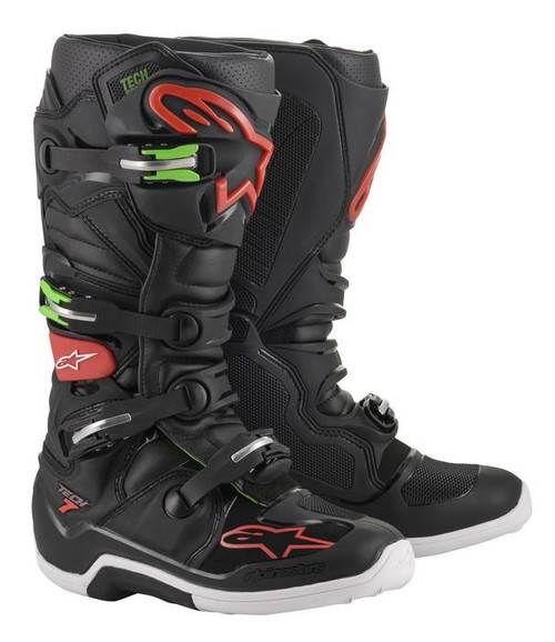 Alpinestars Tech 7 Adult Motocross Boots Black/Red/Green