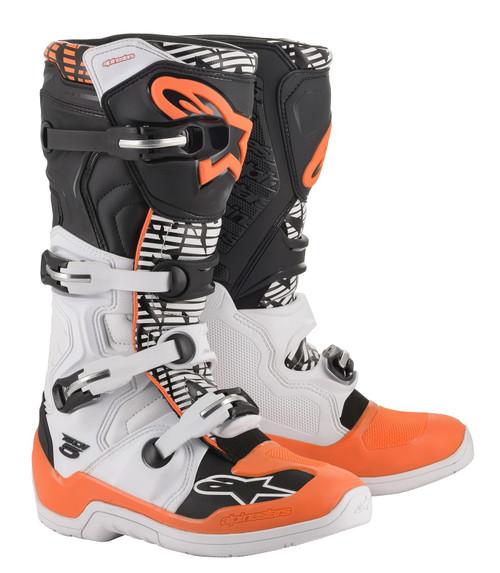 Alpinestars Tech 5 Adult Motocross Boots White/Black/Orange Fluo
