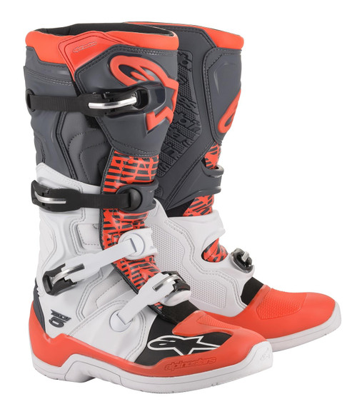 Alpinestars Tech 5 Adult Motocross Boots White/Grey/Red Fluo