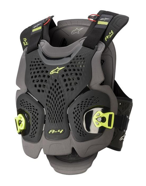 2020 Alpinestars A-4 Max Chest Protector Black/Anthracite/Yellow Fluo