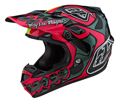 TROY LEE DESIGNS SE4 COMPOSITE HELMET LIMITED EDITION SKULLY PINK/FLO YELLOW