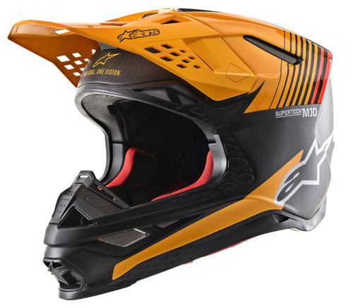 2020 Alpinestars Supertech M10 Dyno MX Helmet Black Carbon/Orange Matt & Glossy