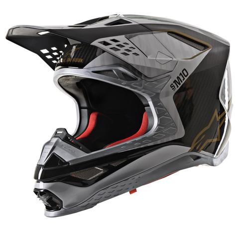 2020 Alpinestars Supertech M10 Alloy MX Helmet Silver Black Carbon Gold Matt & Glossy