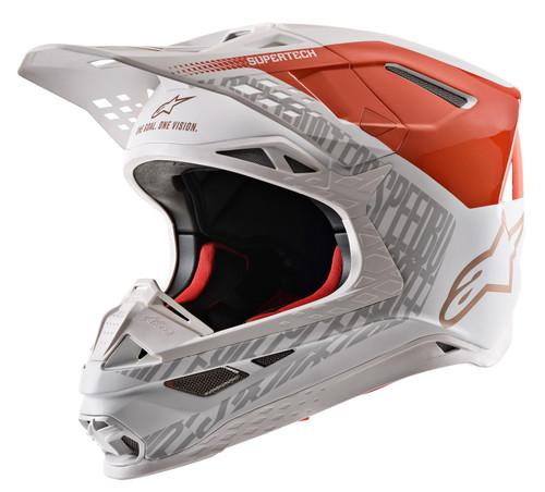 2020 Alpinestars Supertech SM-8 Triple Adult MX Helmet Orange Flou/White Gold Matt & Glossy