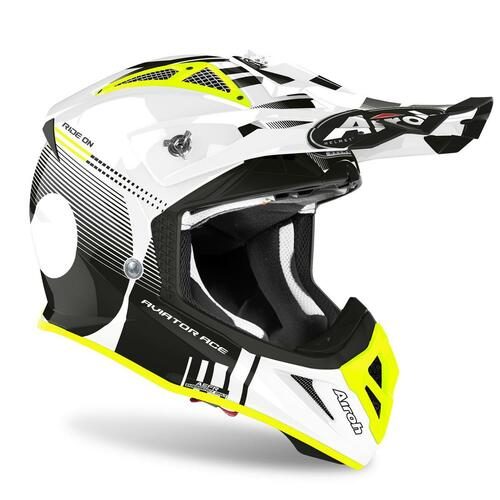 Airoh Motocross Helmet Aviator Ace Nemesi White Gloss