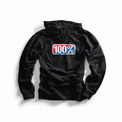 100% Adult Hooded Pullover Sweatshirt Classic Black