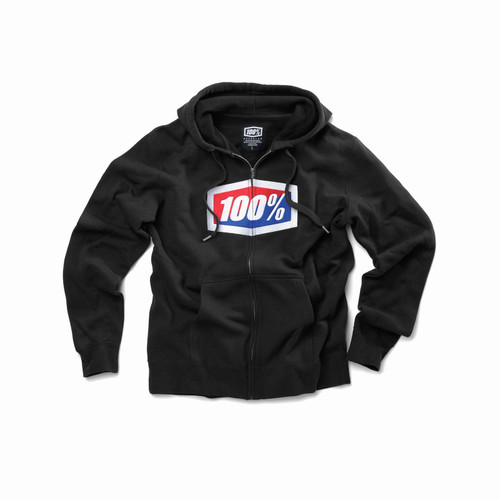 100% Adult Sweatshirt Official Zip Hooded Black