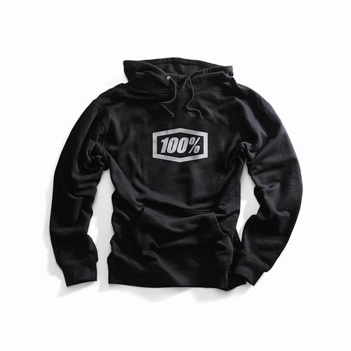 100% Adult Hooded Pullover Sweatshirt Black