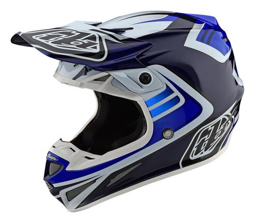 TLD MX Helmet 2020 SE4 Carbon Flash Blue/White