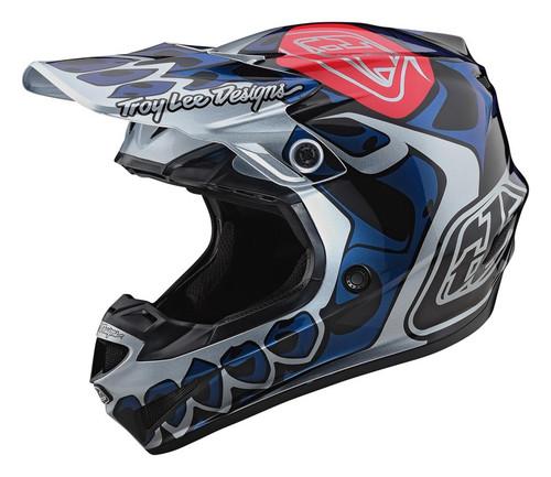 TLD MX Helmet 2020 SE4 Polyacrylite Skully Silver