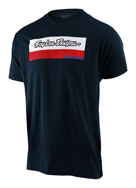 TLD Men's T-Shirt Racing Block Fade Navy Troy Lee Designs Adult Casual