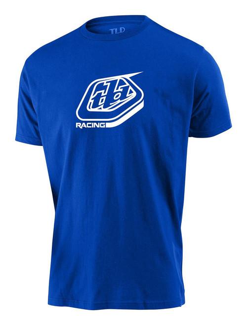TLD Men's T-Shirt Racing Shield Blue Troy Lee Designs Casual Short Sleeved