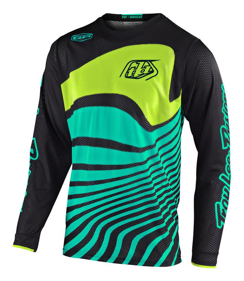 2020 TLD YOUTH GP AIR JERSEY DRIFT BLACK TURQUOISE