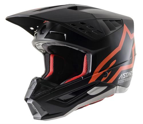 2021 Alpinestars S-M5 Compass Helmet Black Orange Fluo Matt