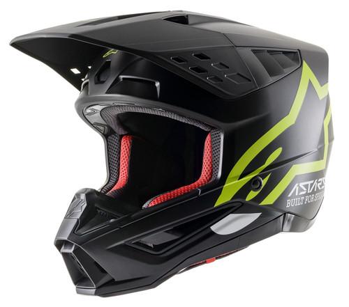 2021 Alpinestars S-M5 Compass MX Helmet Black/Yellow Fluo Matt