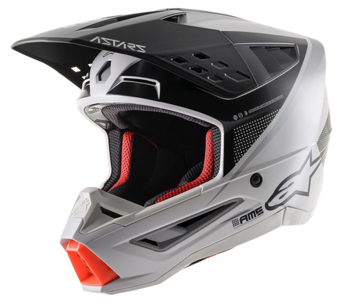 2021 Alpinestars S-M5 Rayon MX Helmet Light Grey Black Silver Matt