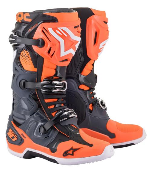 Alpinestars Tech 10 MX Boots Grey/Orange Flo