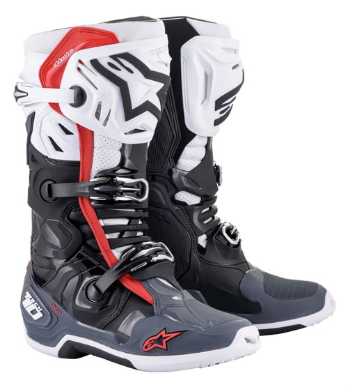 Alpinestars Tech 10 Adult Supervented Motocross Boots Black/White/Mid Grey/Red