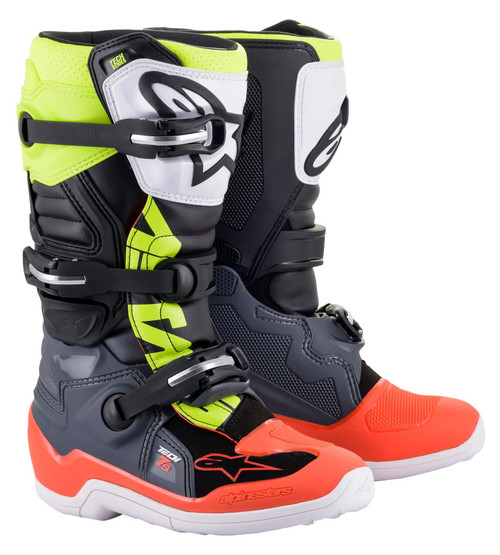 Alpinestars Tech 7S Youth Boots Grey/Red Fluo/Yellow Fluo