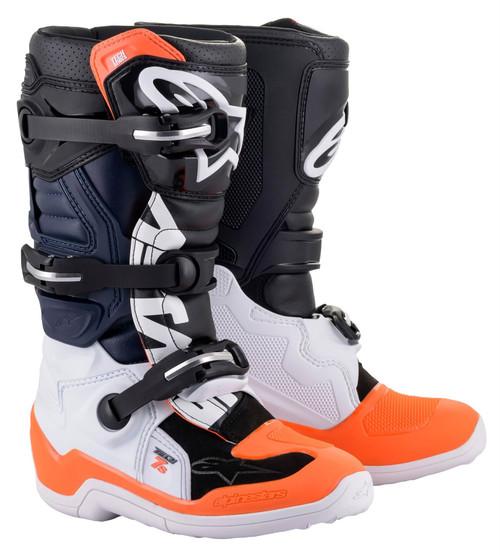 Alpinestars Tech 7S Youth Boots Black/White/Orange Fluo