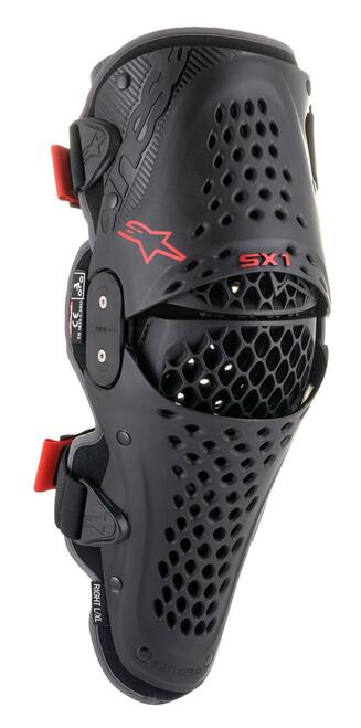 Alpinestars Adults SX1 V2 Motocross MX Enduro Bike Knee Guards - Black/ Red
