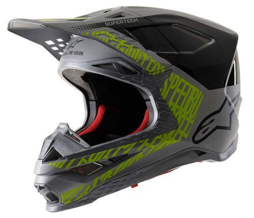 Alpinestars SM8 MX Helmet Triple Silver/Black/Yellow